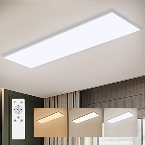 LED Panel Dimmbar mit Fernbedienung, LED Deckenleuchte Farbwechsel mit 6 RGB Farben, 36W /3000K-6500K/100x25CM, LED Deckenlampe für Wohnzimmer/Küche