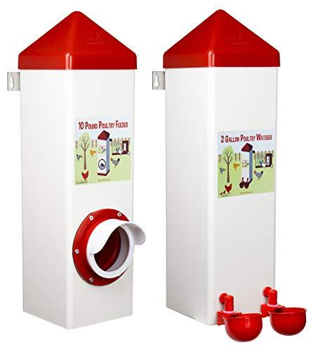 RentACoop Twin Cup Chicken Waterer and Feeder Set - 10lbs/2 Gal