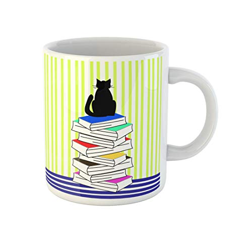 Awowee Coffee Mug Abstract Cat Books Lines Animal Astrology Beautiful Black Bookstore 11 Oz Ceramic Tea Cup Mugs Best Gift Or Souvenir For Family Friends Coworkers