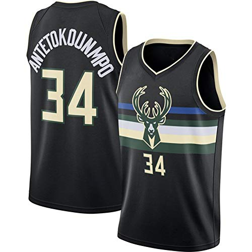 HANJIAJKL Maglia da Uomo,NBA Milwaukee Bucks #34 Giannis Jersey,Vintage da Giocatore di Basket T-Shirt +Shorts,Ricamata Swingman Abbigliamento Sportivo,Black a,S