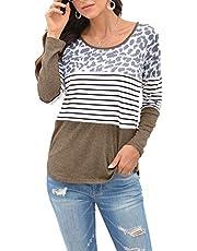 2020 Nueva Camiseta De Cuello Redondo De Manga Larga con Estampado De Leopardo A Rayas para Mujer