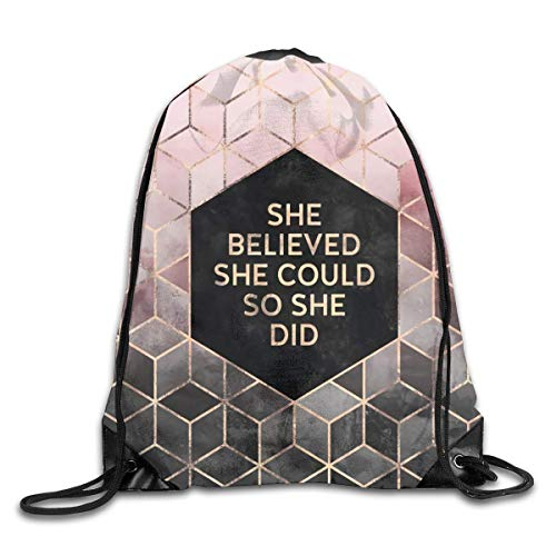 Lawenp Plegable She Believed She Could Grey Pink Drawstring Bag, Sports Cinch Sacks String Drawstring Backpack for Picnic Gym Sport Beach Yoga