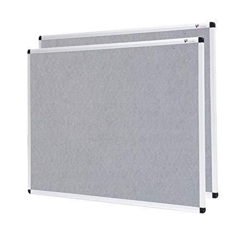 VIZ-PRO Pinnwand - Textil/Filz (grau) - mit Alurahmen - 2er Pack 120 x 90 cm