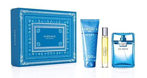 Versace Eau Fraiche For Men 3 Piece Set (3.4 Oz Eau De Toilette Spray + 5.0 Ounce Perfumed Shower Gel + 0.3 Ounce Eau De Toilette Travel Spray, multi color