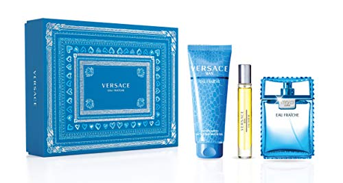 Versace Eau Fraiche For Men 3 Piece Set (3.4 Oz Eau De Toilette Spray + 5.0 Ounce Perfumed Shower Gel + 0.3 Ounce Eau De Toilette Travel Spray, multi color