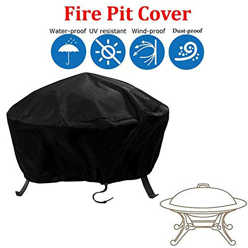 Keptfeet Deluxe Firepit Cover Round Fire Pit Cover Waterproof Protective Garden Patio Outdoor Fire Bowl Cover with Drawstring