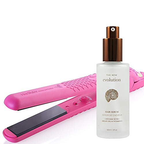2 pack Herstyler Evolution Hair Serum and Colorful Seasons Ceramic Flat Iron (Pink)