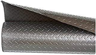 Resilia - Silver Plastic Floor Runner/Protector - Embossed Diamond Plate Pattern, (27 Inches Wide x 6 Feet Long)