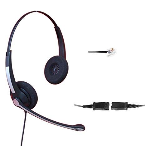 4Call K702FQCMB Dual RJ Telephone Headset Headphone + Noise Canceling Mic + Quick Disconnect for Plantronics M10 M22 Vista Adapter and Cisco 7975 9971 Office Landline Desk IP Phones