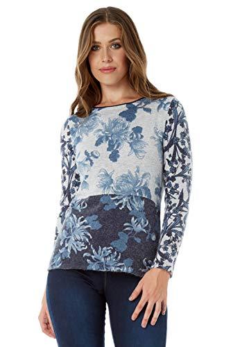 Roman Originals Damen Pullover mit Blumen-Print - Strick, runder Ausschnitt, mit 3/4-Ärmeln, leger, zum Ausgehen, elegant, Winter, Herbst - Blau - Größe 48