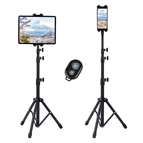 Plehood Tablet Tripod Stand for ipad/iPhone,Height Adjustable Tripod Floor with 360 Degree Rotating for iPad Mini, iPad Air, iPad Pro, suit for all 4.7-12.9 inch phone & tablet