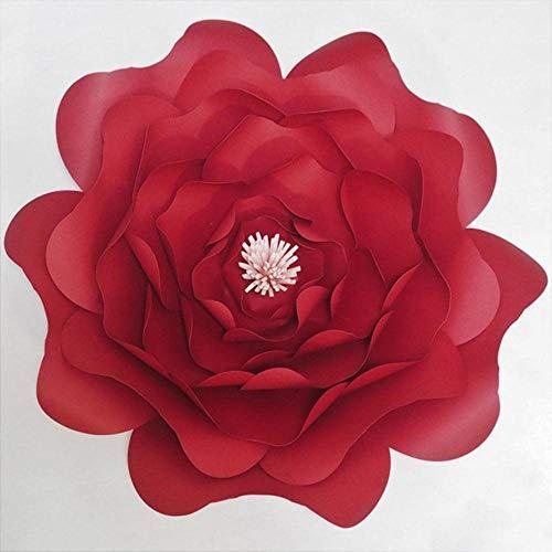 2018 DIY grote roos gigantische papieren bloemen voor bruiloft achtergronden decoraties papier ambachten baby kwekerij verjaardag video tutorials, rood met roze, 50CM