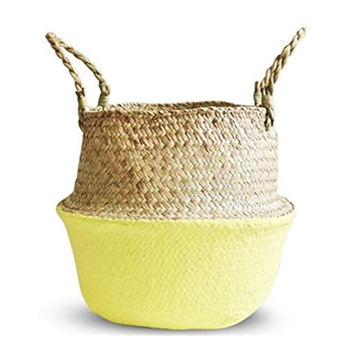 ONETOTOP Handgemachte Bambusspeicherkörbe Faltbare Wäscherei Stroh Patchwork Wicker Rattan Seahass Bauchgarten Blume Topf Planthe Korb (Color : Half Yellow, Size : 27cm)