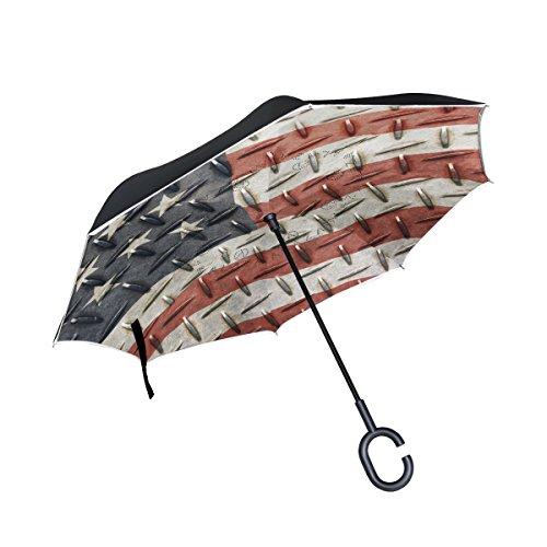 Ahomy Doppelschichtiger umgekehrter Regenschirm, Amerika-Flagge, Diamant-Rückwärtsschirm, faltbar, für Auto und Außenbereich, mit C-förmigem Griff und Tragetasche