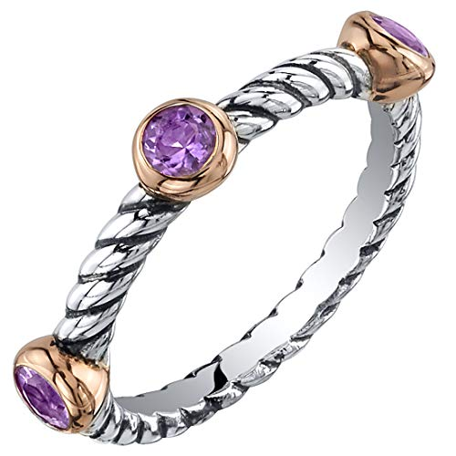 Peora Amethyst 3-Stone Stackable Ring in Sterling Silver, Cable Rope Band for Women 2.1mm Sizes 9