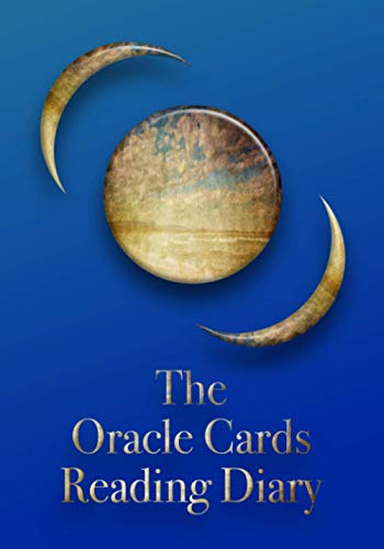 The Oracle Cards Reading Diary: Moon at three phases on dark blue background. The Journal of Your Destiny.