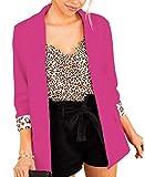 FARORO Womens Casual Blazers 3/4 Sleeve Lightweight Office Work Suit Jacket Cardigan Jacket Blazer (Rose, X-Large)
