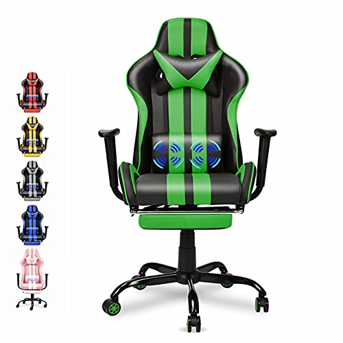 Ferghana E-Sports Chair,Gaming Chair,Racing Office Computer Game Chair,Ergonomic Gaming Chair,Racing Style with Adjustable Recliner and Retractable Footrest and Headrest/Lumbar Pillow(Green)