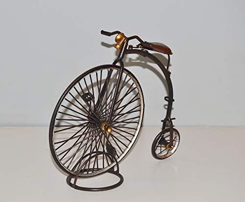 JS GartenDeko Blechhochrad Nostalgie Modell Hochrad Penny-Earth Oldtimer Modell Blech Fahrrad L 23 cm Zweirad