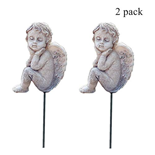 Muamax - Figuras de ángel, diseño de querubín en miniatura, juego de 2 figuras de ángeles de hadas al aire libre