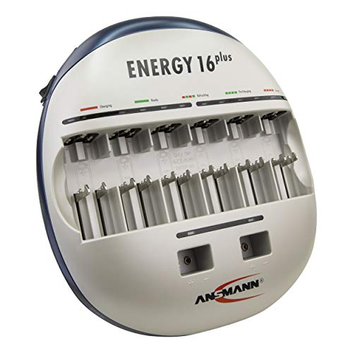 ANSMANN Energy 16 Plus Akku Ladegerät - Ladestation für AAA, AA, C, D, 9V E-Block & USB - Schnellladegerät als Pflegestation & Kapazitätstester mit Refresh Funktion - Batterieladegerät NiMH Akkus