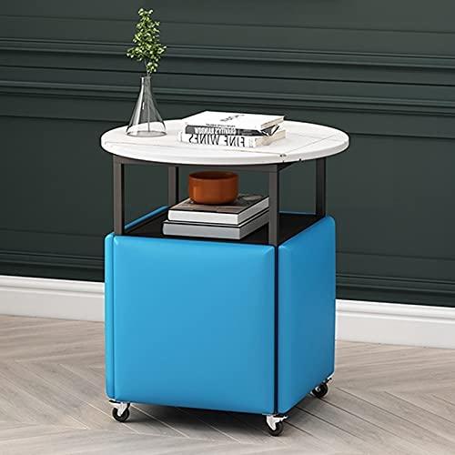 WLOWS Juego de Mesa de Centro Redonda de 1 Mesa + 4 taburetes Juegos de sofá Mesa con Ruedas universales Mesa pequeña apilable para balcón, Dormitorio, Sala de Estar,Blue PU