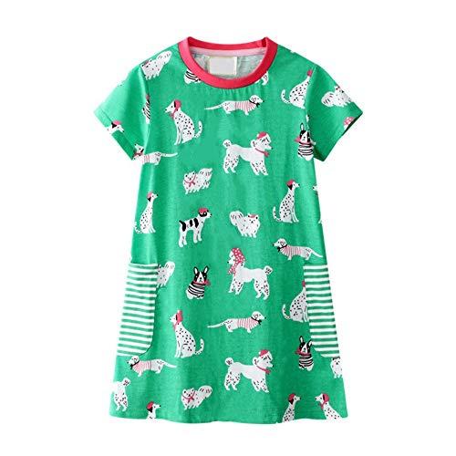 Eendelige kinderjurk kleine meisjes met dierenprint, korte mouwen, katoenen jurk, baby, meisjes, casual, zomer, tuniek, shirt, jurk, prinses, party, verjaardag, kleding, kids slaepdress