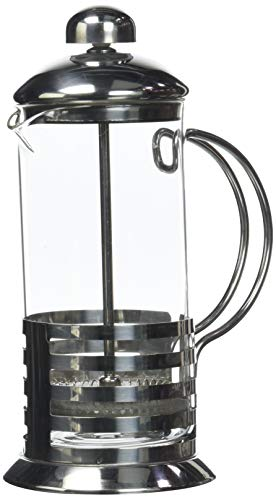 axentia Tebino Kaffeebereiter, Teebereiter 350 ml Volumen, French-Press aus Glas, kleine Kaffeemaschine, Pressstempelkanne, aus Edelstahl, Kaffeepresse mit temperaturbeständigem Borosilikatglas