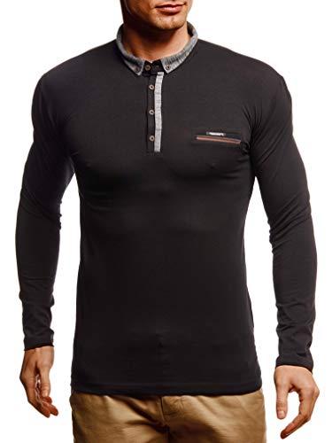 Leif Nelson Herren Langarmshirt Poloshirt Slim Fit Baumwolle-Anteil Basic Männer Longsleeve Pulli Sweatshirt Poloshirt Schwarzer Pullover Sweater T-Shirt Langarm LN4810 Schwarz Medium