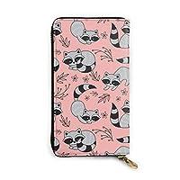 Raccoons Playing On A Peach 長財布 メンズ レディース 本革 マネークリップ 財布 レディース 本革製 12カード入れ
