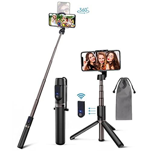 Selfie Stick Stativ Bluetooth 3 in 1 Selfiestick Selfie Stange Stab mit abnehmbar Fernbedienung Aluminium Telekopstange Stand für Android iOS (4-6.5 Zoll)
