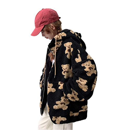 KAMONDA Chaqueta con capucha para mujer, de invierno, con diseño de oso de dibujos animados, de gran tamaño, Harajuku, de manga larga, cálida, con cremallera, con bolsillos
