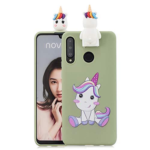 Jorisa Hülle Kompatibel mit Huawei P30 Lite,Niedlich Tier Pferd Muster mit Süße 3D Karikatur Ständer Handyhülle,Ultra Dünn Weich Silikon TPU Kratzfest Schutzhülle,Grün