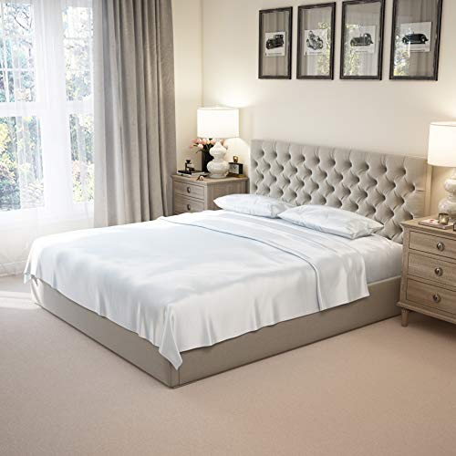 Mulberry Park 100% Pure King Silk Sheet Set 4 Pcs - 22 Momme 6A Mulberry Silk Bed Sheets with 17' Deep Pocket -...