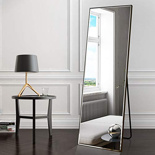 """BEAUTYPEAK Full Length Mirror 20"""" x 60"""" Standing Hanging or Leaning Against Wall Large Rectangle Floor Mirrors Body Dressing Wall-Mounted for Living Room, Bedroom Home Decor, Black Hawaii"""