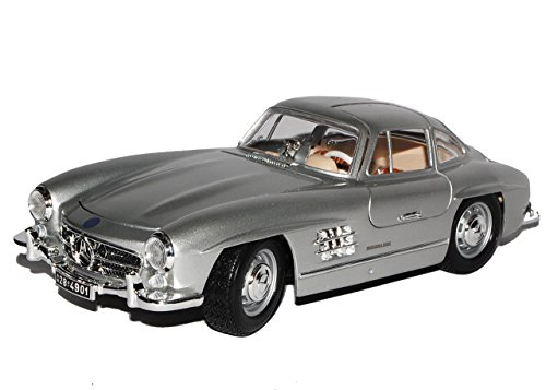 Bburago Mercedes-Benz 300SL Coupe Silber W198 1954-1963 Flügeltürer 18-12047 1/18 Modell Auto mit individiuellem Wunschkennzeichen