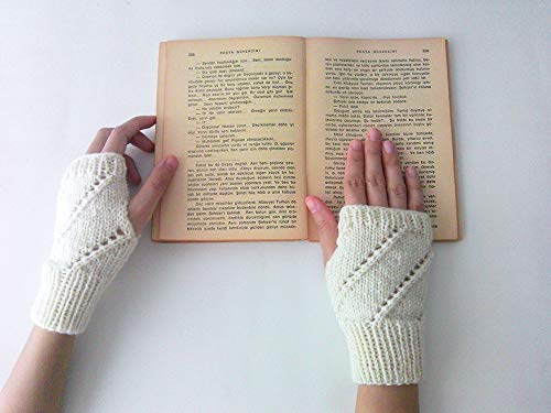 Hand Knit Fingerless Gloves in Ivory - Arm Warmers - Womens Seamless Knit Gloves - Winter Fashion - Made to Order