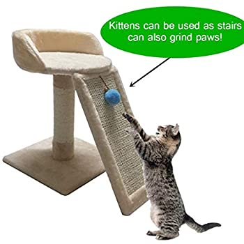 YLLYLL Arbre à Chat Activité Centre Kitten Scratching Post Kitty Tour d'escalade Mobilier Playhouse avec Dangling Boule Jouets Brown (Color : #1)
