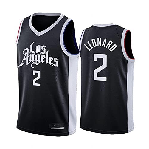 WEIZI Basketball Jersey NBA Los Angeles Clippers # 2 Kawhi Leonard Bordado Jersey, Deportes Baloncesto Uniforme Camiseta sin Mangas Camiseta Deportiva Chaleco Unisex Fan Uniforme,Negro,XL