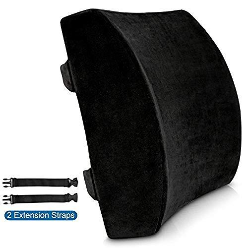 wscmd Cojín lumbar para silla de oficina con espuma viscoelástica y funda de terciopelo en relieve para dolor de espalda para sofá de coche, color negro