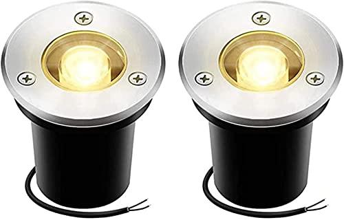 YUIOLIL Landscape Lights LED Deck Lights, 2Pack 1W Ground Lights 110 Lumen IP67 Waterproof Low Voltage, 7 Colors
