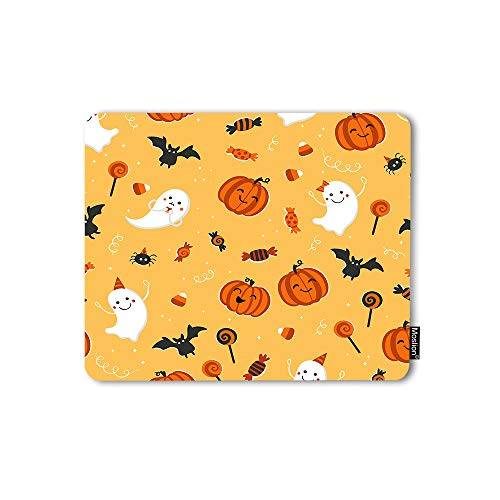 Moslion Mouse Pad Halloween Design Pumpkin Spider Ghost Bat October 31 Funny Cool Hand Drawn Gaming Mouse Mat Non-Slip Rubber Base Thick Mousepad for Laptop Computer PC 9.5x7.9 Inch
