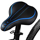 Belle Dura Bike Seats for Comfort Men,Soft Foam Wide Leather, Bicycle Saddles Cushion, Waterproof, Dual Spring Suspension,Shock Absorbing,Mountain Bike,Bicycle Seats for Women Universal(Blue)