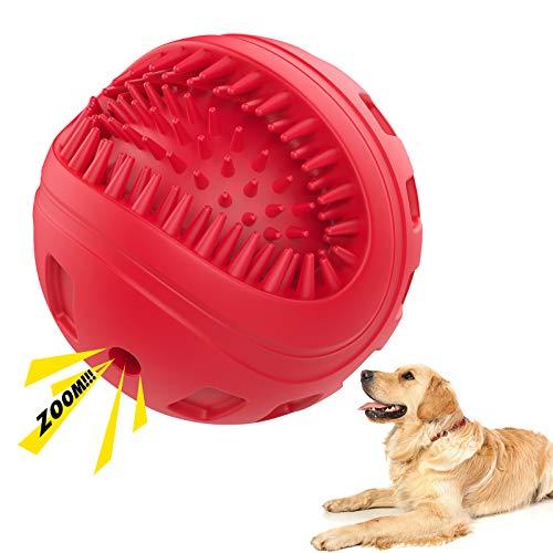 VavoPaw Zahnbürste Hundeball, Interaktives Kauspielzeug aus Naturkautschuk Zahnpflege Hundespielzeug mit Quietschen Snackball für Große Mittel Klein Hunde Kauen Spielen Zahn Reinigung Ball, Rot