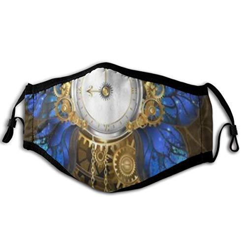 MUYIXUAN Gesichtsbedeckung Rund um die Uhr mit Schmetterlingsflügeln Morpho Zifferblatt mit goldenen römischen Ziffern Sturmhaube Wiederverwendbare Bandanas Halsmanschette mit 2 Filtern
