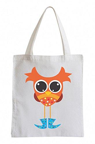 Raxxpurl Owl Orange avec des Bottes en Caoutchouc Fun Sac de Jute