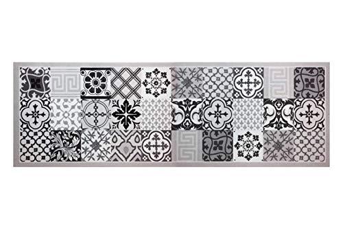 HOMEFACTO:RI Küchenläufer Brücke Läufer Kachel Fliesen Mosaik grau | Anti-Rutsch Waschbar, Größe:ca. 45 x 145 cm, Designs:Mosaik | grau schwarz