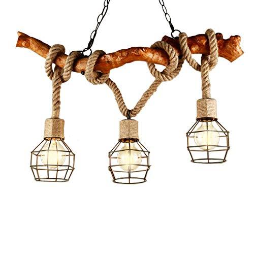 Kronleuchter Seil 3-Flammig Loft Holz Hanfseil Retro Pendelleuchte Esszimmerlampe Hängleuchte Vintage Industrie Deko Landhausstil Rustikal Küche Esszimmer Esstisch Bar