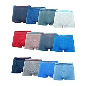 41x6B5UpdsL. SS300  - Channo Pack de 12 - Calzoncillos Boxer Lycra de niños sin Costuras con Rayas horizontales