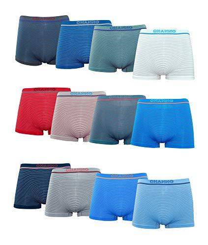 Channo Pack de 12 - Calzoncillos Boxer Lycra de niños sin Costuras con Rayas horizontales. Talla 2-4 años